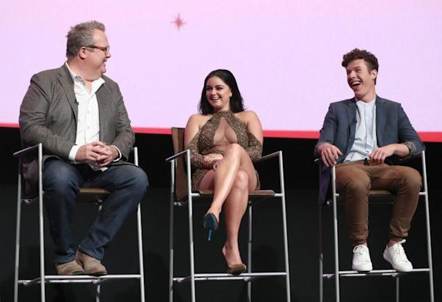 Ariel Winter on the panel with Eric Stonestreet and Nolan Gould. (Photo: Getty Images)