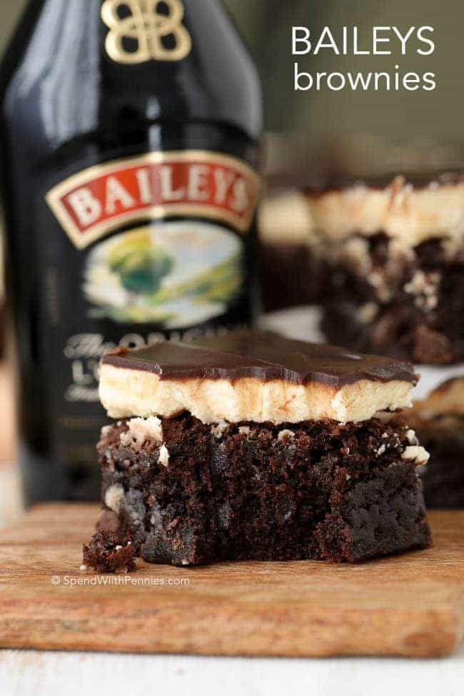 """<p>These rich brownies are topped with a fluffy Baileys buttercream frosting and Baileys-infused chocolate ganache. Double the Baileys, double the fun.</p><p><em><a href=""""https://www.spendwithpennies.com/baileys-brownies/"""" rel=""""nofollow noopener"""" target=""""_blank"""" data-ylk=""""slk:Get the recipe at Spend With Pennies »"""" class=""""link rapid-noclick-resp"""">Get the recipe at Spend With Pennies »</a></em></p><p><strong>RELATED: </strong><a href=""""https://www.goodhousekeeping.com/food-recipes/dessert/g32305125/easy-chocolate-desserts/"""" rel=""""nofollow noopener"""" target=""""_blank"""" data-ylk=""""slk:25 Easy and Creative Chocolate Desserts That You Haven't Tried Yet"""" class=""""link rapid-noclick-resp"""">25 Easy and Creative Chocolate Desserts That You Haven't Tried Yet</a></p>"""