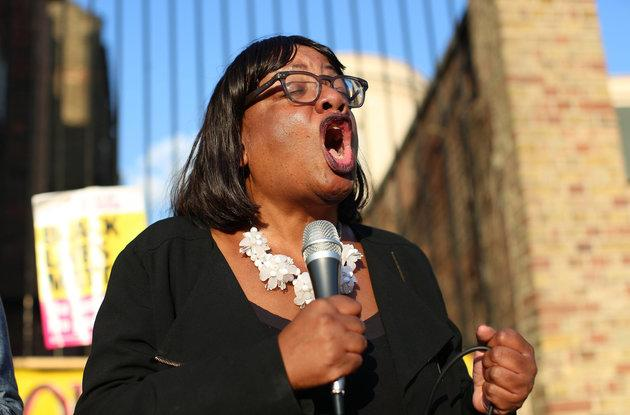 Shadow home secretary Diane Abbott addresses a protest on Friday in support of the Windrush generation