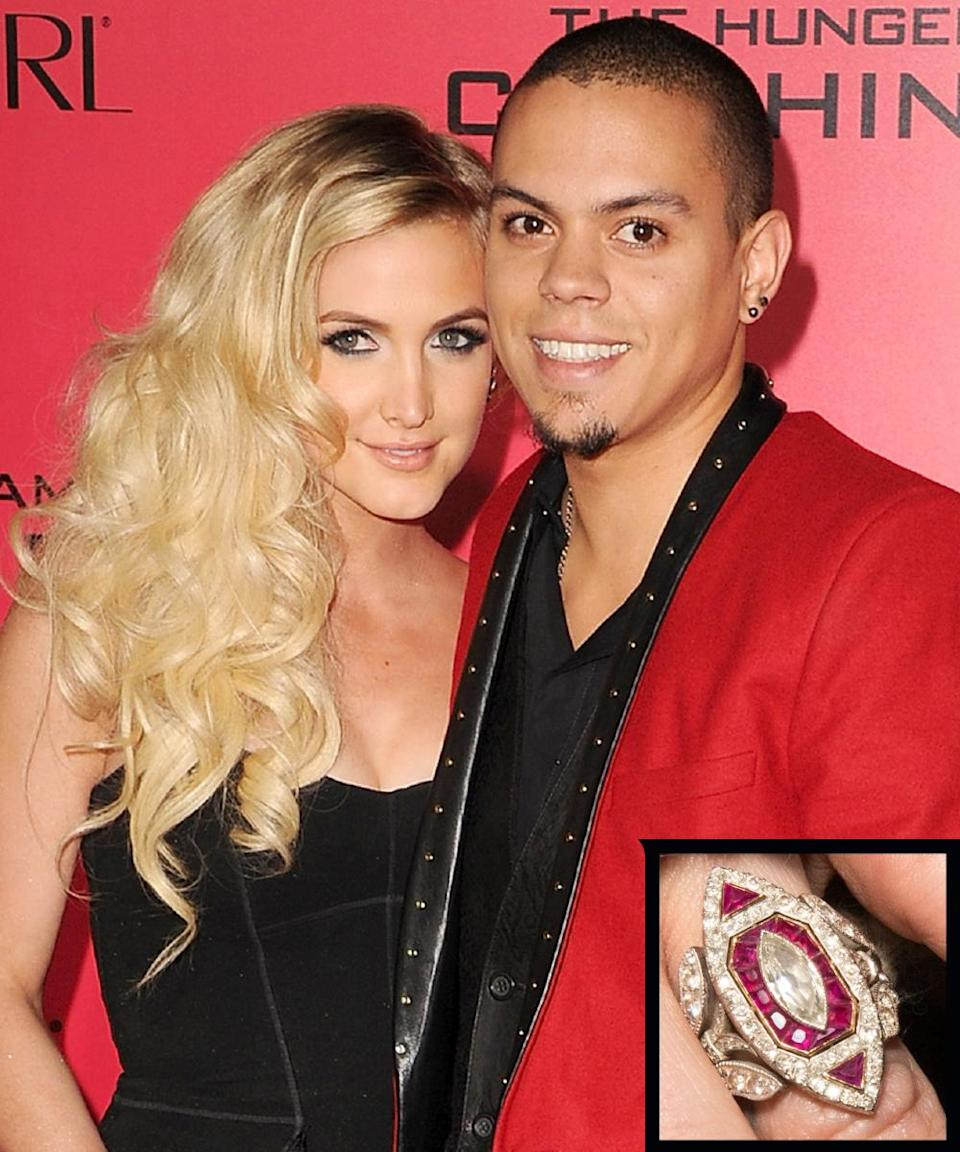 """<p>Evan Ross proposed to singer Ashlee Simpson with a vintage-looking <a rel=""""nofollow noopener"""" href=""""http://www.instyle.com/news/big-photo-big-rock-see-ashlee-simpsons-vintage-inspired-engagement-ring"""" target=""""_blank"""" data-ylk=""""slk:five-carat Neil Lane ring"""" class=""""link rapid-noclick-resp"""">five-carat Neil Lane ring</a> set in platinum and gold, which is made up of over 140 white diamonds accented by small rubies.</p>"""