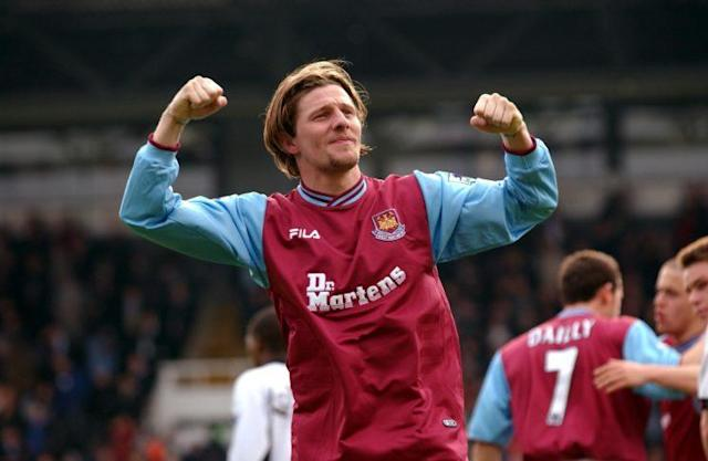 West Ham United's Sebastian Schemmel celebrates his team's win against Fulham in April 2002
