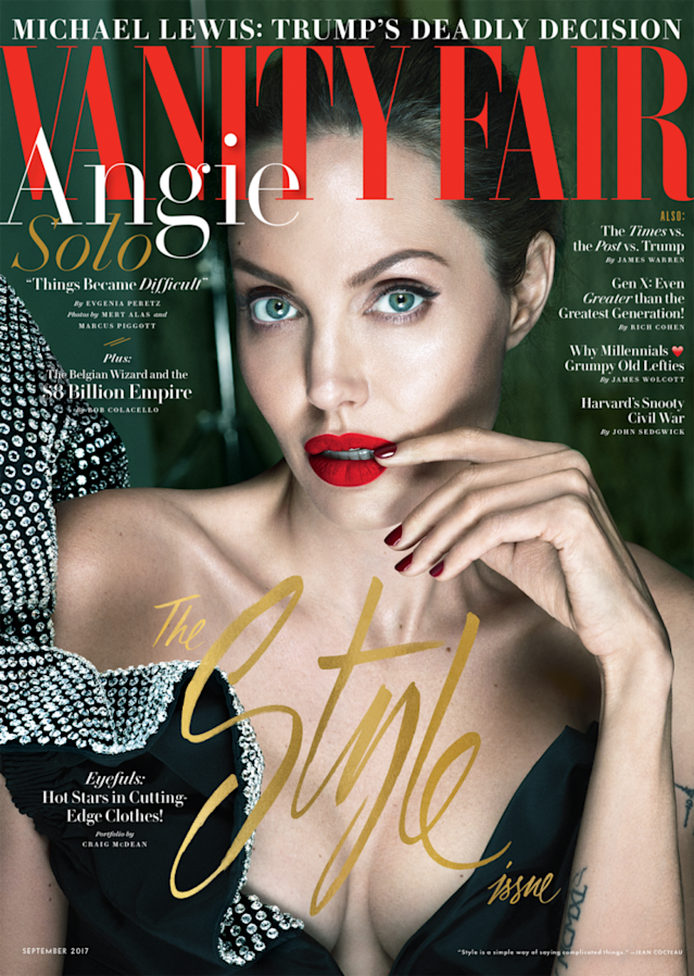 Angelina Jolie on the cover of the September  <em>Vanity Fair</em>. (Photo: Vanity Fair, Photograph by Mert Alas and Marcus Piggott. Styled by Jessica Diehl)