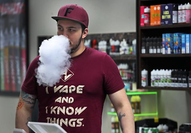 The US announced a countrywide ban on all flavoured vapes on Thursday. Photo: Jim Davis/The Boston Globe via Getty Images