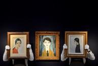 Preparations take place ahead of livestream auction of Modern British Art at Christie's in London, Britain