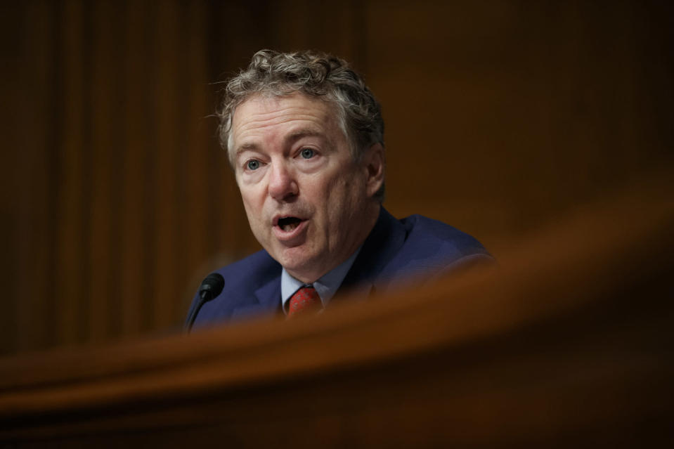 """FILE - In this March 5, 2019, file photo, Sen. Rand Paul, R-Ky., speaks during a Senate Committee on Health, Education, Labor, and Pensions hearing on Capitol Hill in Washington. Paul and Wyoming Rep. Liz Cheney are battling over President Donald Trump's foreign policy. Both engaged in a rapid-fire exchange of tweets on Sept. 11 and 12 in which he suggested she is a warmonger and she called him a """"loser."""" (AP Photo/Carolyn Kaster, File)"""
