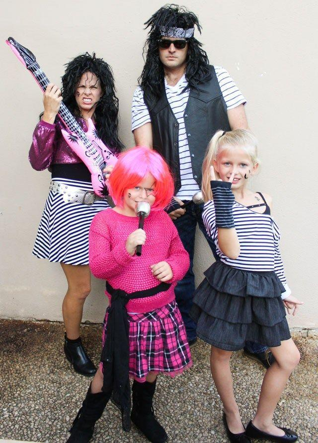"""<p>Get ready to bang your head with this 80s hair metal rock band costume for the whole family that's easy to put together and just as inexpensive. All it takes is a quick trip to your local thrift shop and you'll be ready to rock and roll all night.</p><p><strong>Get the tutorial at <a href=""""https://designimprovised.com/2017/10/family-halloween-costume-idea-80s-rock.html"""" rel=""""nofollow noopener"""" target=""""_blank"""" data-ylk=""""slk:Design Improvised"""" class=""""link rapid-noclick-resp"""">Design Improvised</a>.</strong></p><p><a class=""""link rapid-noclick-resp"""" href=""""https://go.redirectingat.com?id=74968X1596630&url=https%3A%2F%2Fwww.walmart.com%2Fip%2FInflatable-Guitar-40in-1-pkg%2F45696497&sref=https%3A%2F%2Fwww.countryliving.com%2Fdiy-crafts%2Fg23785711%2Flast-minute-halloween-costumes%2F"""" rel=""""nofollow noopener"""" target=""""_blank"""" data-ylk=""""slk:SHOP INFLATABLE GUITARS"""">SHOP INFLATABLE GUITARS</a><br></p>"""