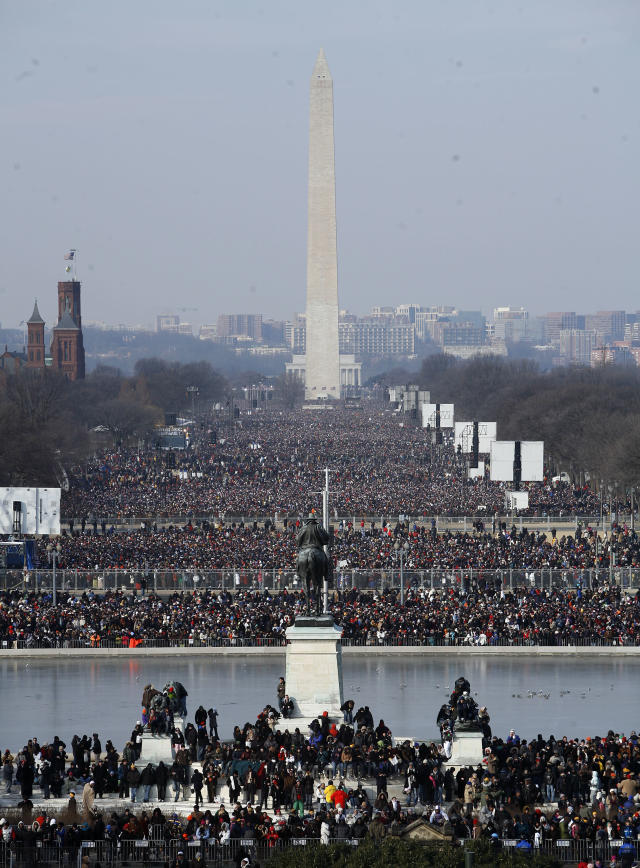 Crowds fill the National Mall during the inauguration of Barack Obama as the 44th President of the United States of America January 20, 2009 in Washington, DC. (Photo by Alex Wong/Getty Images)