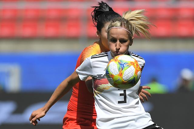 Germany's defender Kathrin Hendrich eyes the ball during the France 2019 Women's World Cup Group B football match between Germany and China, on June 8, 2019, at the Roazhon Park stadium in Rennes, western France. (Photo by Loic Venance/AFP/Getty Images)