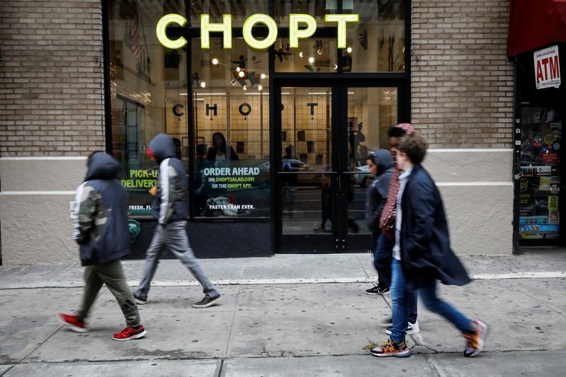 People pass by the newest Chopt Creative Salad Co., location in New York