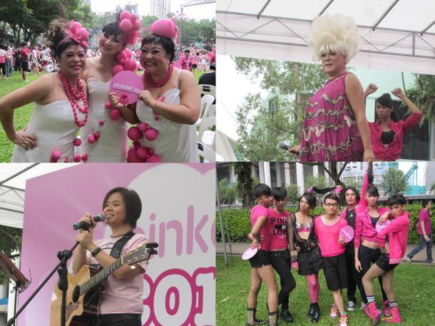 Some of the performers at the inaugural Pink Dot concert: (Clockwise from top left: The Dim Sum Dollies, Rima S, Voguelicious and Jill Marie Thomas) (Yahoo! photos/Jeanette Tan)