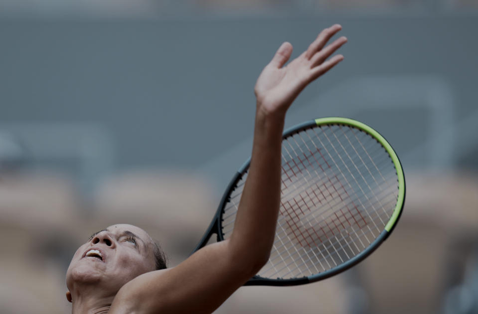United Staes's Madison Keys serves to Belarus's Victoria Azarenka during their third round match on day 6, of the French Open tennis tournament at Roland Garros in Paris, France, Friday, June 4, 2021. (AP Photo/Thibault Camus)