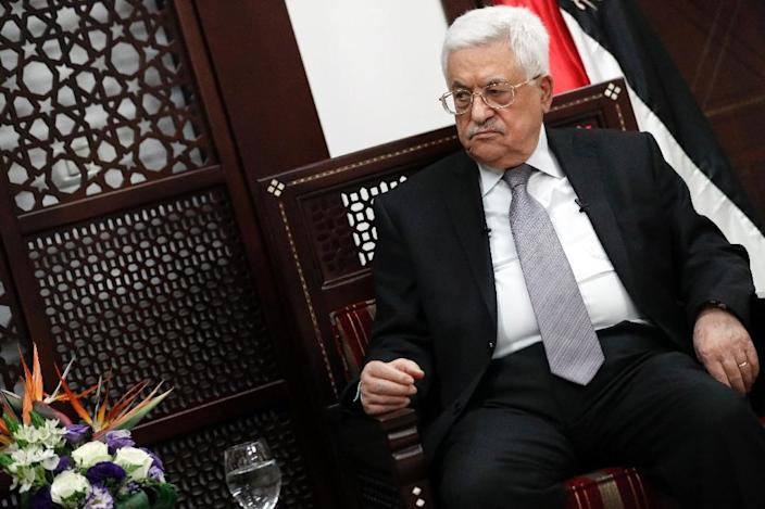 Palestinian president Mahmud Abbas pictured during an interview with AFP at his office in the West Bank city of Ramallah on April 11, 2016 (AFP Photo/Thomas Coex)