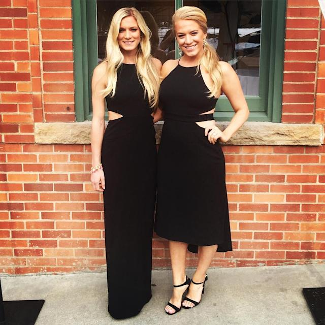 <p>When you and your sister accidentally match #blackdresswithcutouts #weddingbellsforthewaddells. Congrats @holldan & @calebralph! (Instagram/emmacoburn) </p>
