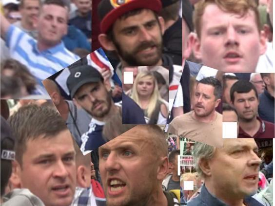 Police have released images of 10 people wanted over violence at a 'Free Tommy Robinson' protest in London on 9 June 2018 (Metropolitan Police)