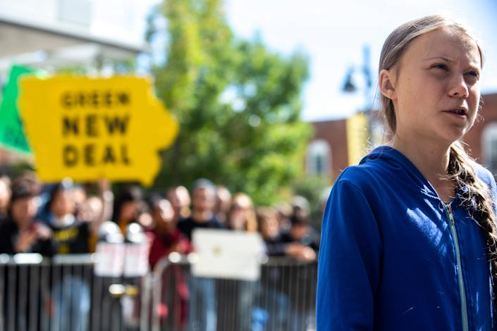 Climate activist Greta Thunberg speaks with reporters after the climate strike for a