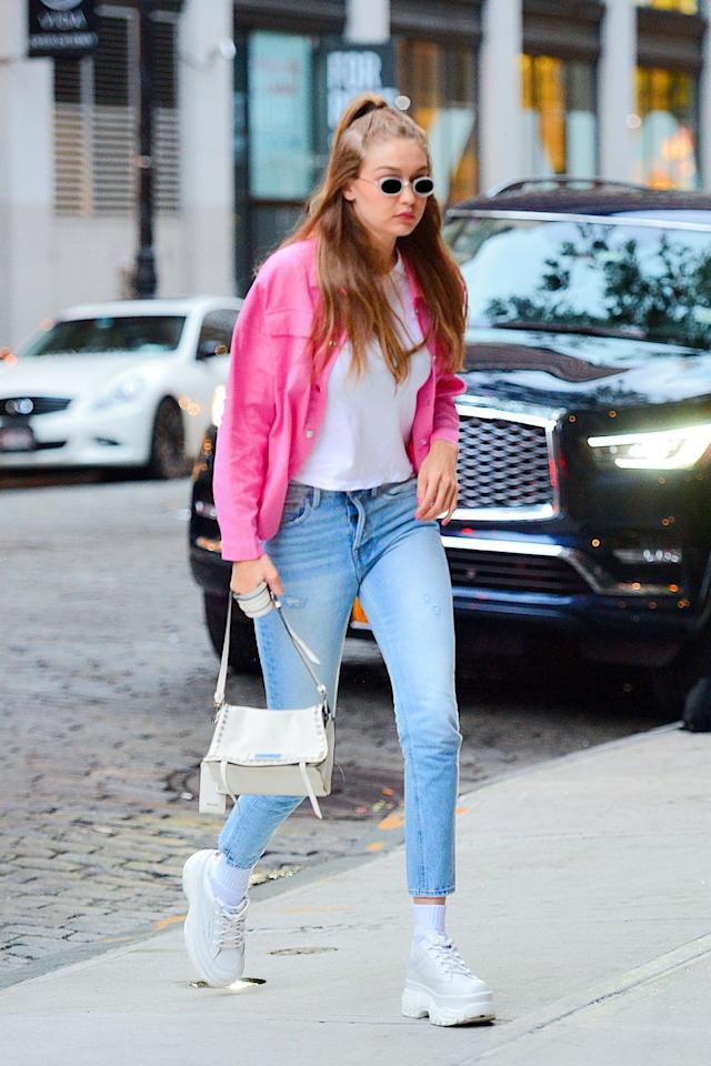 """<p><strong>Who:</strong> Gigi Hadid</p><p><strong>Affordable Fashion Find: Storets </strong>jacket, $89, <a rel=""""nofollow"""" href=""""https://www.storets.com/products/sw185se201"""">storets.com</a>.</p><p><a rel=""""nofollow"""" href=""""https://www.storets.com/products/sw185se201"""">SHOP NOW</a><br></p><p><strong>Why We Love It: </strong>Serving as a welcome alternative to summer's go-to denim jacket, Gigi's hot pink Storets find is the perfect piece to liven up your wardrobe. </p>"""