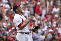 St. Louis Cardinals relief pitcher Giovanny Gallegos celebrates after getting San Diego Padres' Jake Cronenworth to fly out to end a baseball game Sunday, Sept. 19, 2021, in St. Louis. (AP Photo/Jeff Roberson)