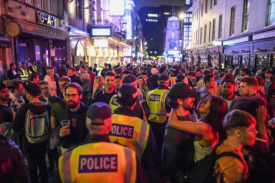 Crowds gathered in London's Soho and across the country on 4 July when pubs and restaurants reopened, prompting fears of a second wave of coronavirus. (Peter Summers/Getty Images)