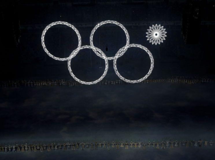 One of the Olympic rings fails to open during the opening ceremony of the 2014 Winter Olympics in Sochi, Russia. (AP Photo/David J. Phillip, File)