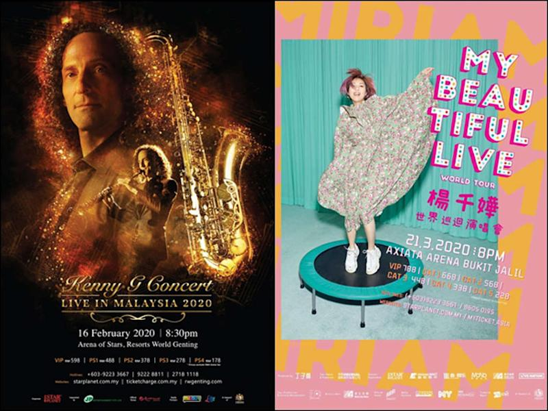 Kenny G and Miriam Yeung were originally scheduled to hold their Malaysian gigs in February and March, respectively.