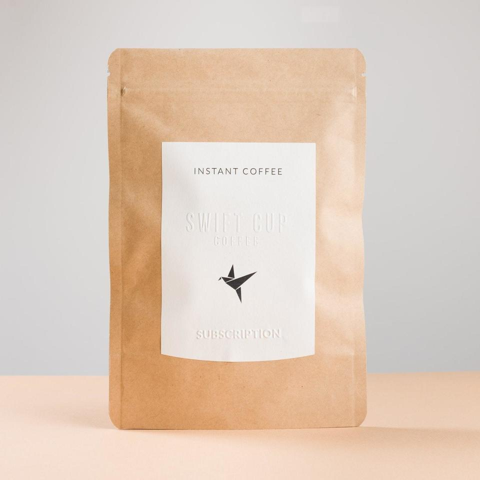 """<p><strong>Swift Cup Coffee</strong></p><p>swiftcupcoffee.com</p><p><strong>$16.95</strong></p><p><a href=""""https://swiftcupcoffee.com/products/mainstay-subscription"""" rel=""""nofollow noopener"""" target=""""_blank"""" data-ylk=""""slk:Shop Now"""" class=""""link rapid-noclick-resp"""">Shop Now</a></p><p>If you're traveling or simply don't have the time to brew a full pot of hot coffee, <a href=""""https://www.goodhousekeeping.com/food-products/g32403995/best-instant-coffee/"""" rel=""""nofollow noopener"""" target=""""_blank"""" data-ylk=""""slk:instant varieties can be a big help"""" class=""""link rapid-noclick-resp"""">instant varieties can be a big help</a> (and are getting tastier every day!). We love how Swift Cup sends single-serving packets of their bold yet sweet signature flavor profile; you won't have to lug around a large canister or a measuring cup to enjoy coffee on the spot (iced or hot!). All you'll need is 10 ounces of piping hot water in a mug and any sweet or creamy additions you like. If you're looking for a sampling of different coffee blends, <a href=""""https://swiftcupcoffee.com/products/variety-subscription?pr_prod_strat=collection_fallback&pr_rec_pid=758429319275&pr_ref_pid=4724440858733&pr_seq=uniform"""" rel=""""nofollow noopener"""" target=""""_blank"""" data-ylk=""""slk:Swift Cup Coffee offers a variety subscription"""" class=""""link rapid-noclick-resp"""">Swift Cup Coffee offers a variety subscription </a>that starts at $18.</p>"""