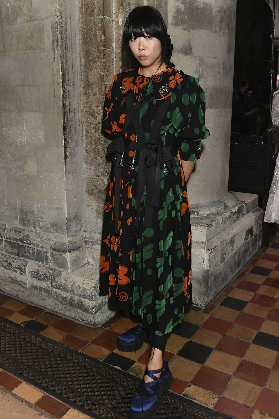 <p><strong>20 September </strong><br></p><p>Susie Lau attended the Simone Rocha show in a printed dress.</p>