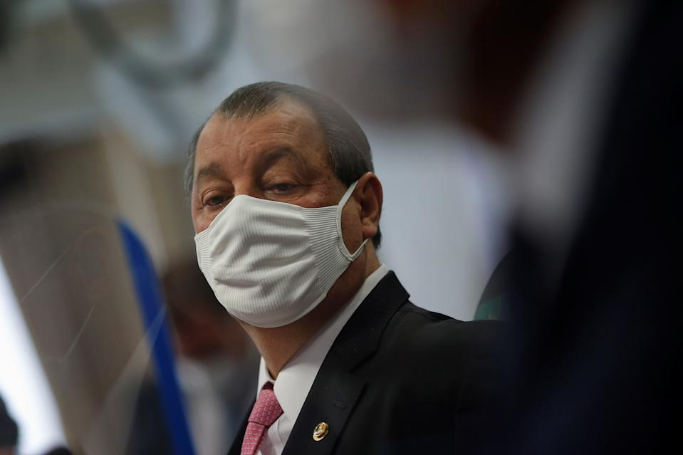 Brazilian Senator Omar Aziz attends a meeting of the Parliamentary Inquiry Committee (CPI) to investigate government actions and management during the coronavirus disease (COVID-19) pandemic, at the Federal Senate in Brasilia, Brazil May 18, 2021. REUTERS/Adriano Machado