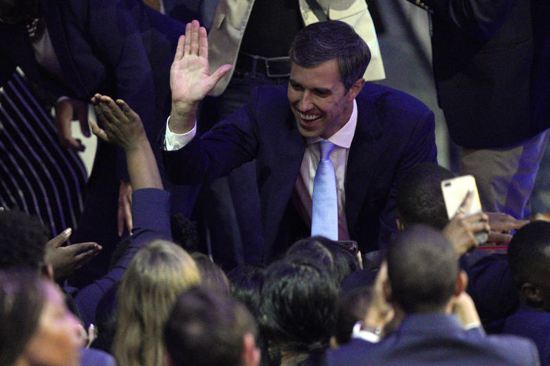 Democratic presidential candidate former Texas Rep. Beto O'Rourke greets supporters Thursday, Sept. 12, 2019, after a Democratic presidential primary debate hosted by ABC at Texas Southern University in Houston. (AP Photo/David J. Phillip)