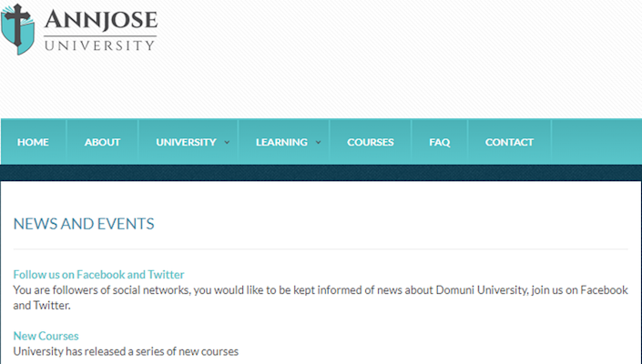 A reference to Domuni Universitas on the web site for AnnJose University, an online university based in New Orleans that appears to have copied much of the material on its website from Domuni, which is a European online university.