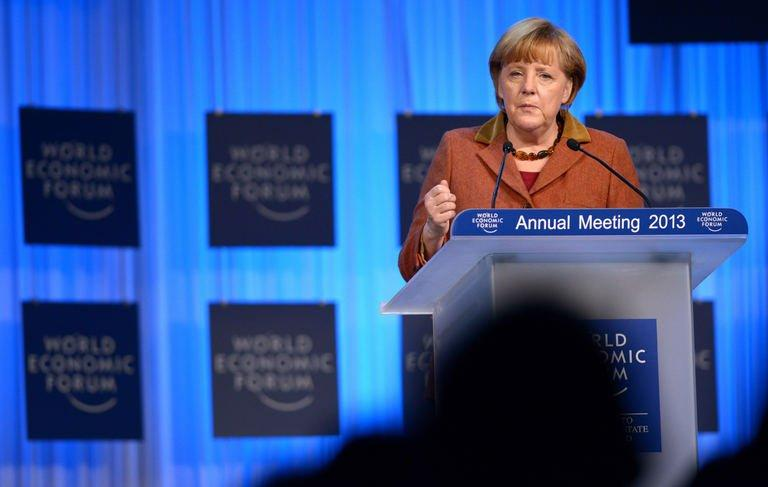 German Chancellor Angela Merkel delivers a speech during a session of the World Economic Forum on January 24, 2013