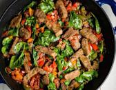 """<p>This teriyaki beef stir-fry is incredibly easy for a busy weeknight. While flank or skirt steak would be great here, we opted for beef silverside, which is nicely tender after marinating for just 30 minutes.</p><p>Get the <a href=""""https://www.delish.com/uk/cooking/recipes/a35582379/teriyaki-steak-stir-fry-with-peppers-recipe/"""" rel=""""nofollow noopener"""" target=""""_blank"""" data-ylk=""""slk:Teriyaki Steak Stir Fry"""" class=""""link rapid-noclick-resp"""">Teriyaki Steak Stir Fry</a> recipe.</p>"""
