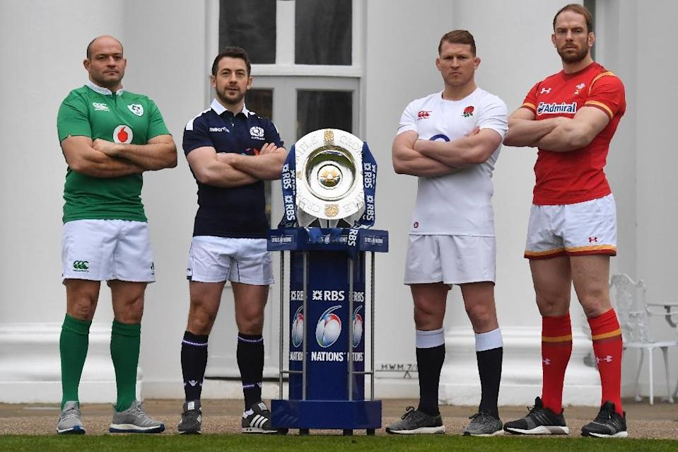 Int'l rugby captains (from L) Ireland's Rory Best, Scotland's Greig Laidlaw, England's Dylan Hartley and Wales' Alun Wyn Jones, pose with the Six Nations trophy at the Hurlingham Club in London, in January 2017 (AFP Photo/Ben Stansall)