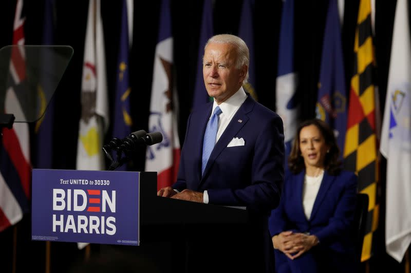 Democratic presidential candidate Biden and vice presidential candidate Harris hold first joint campaign appearance as a ticket in Wilmington, Delaware