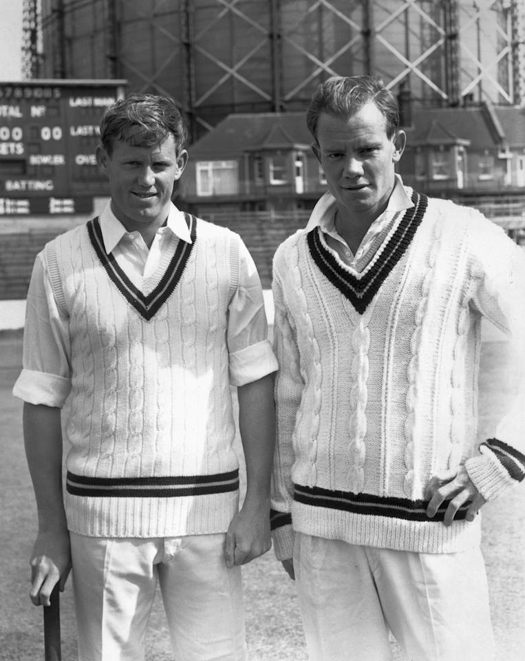 25th August 1965:  South African cricketers and brothers Graeme (left) and Peter Pollock at a practice session at the Oval.  (Photo by Dennis Oulds/Central Press/Getty Images)