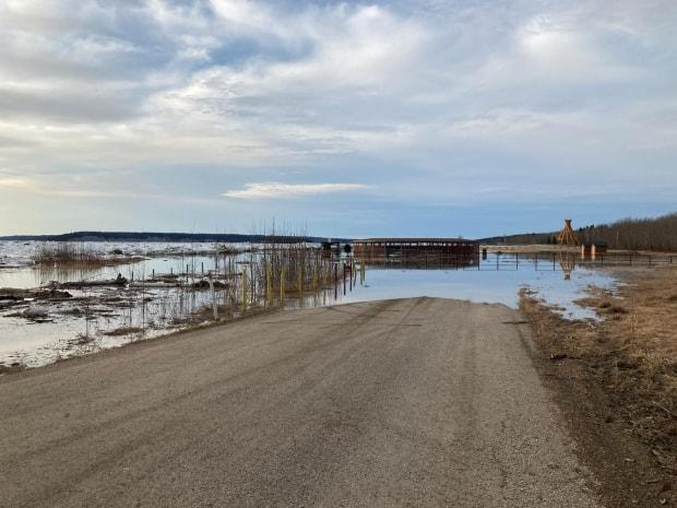 Fort Simpson Mayor Sean Whelly said Saturday morning that rising water levels on the Mackenzie River have started to flood areas of the island, including the Flats, and have made some roads impassable. (Submitted by Sean Whelly - image credit)