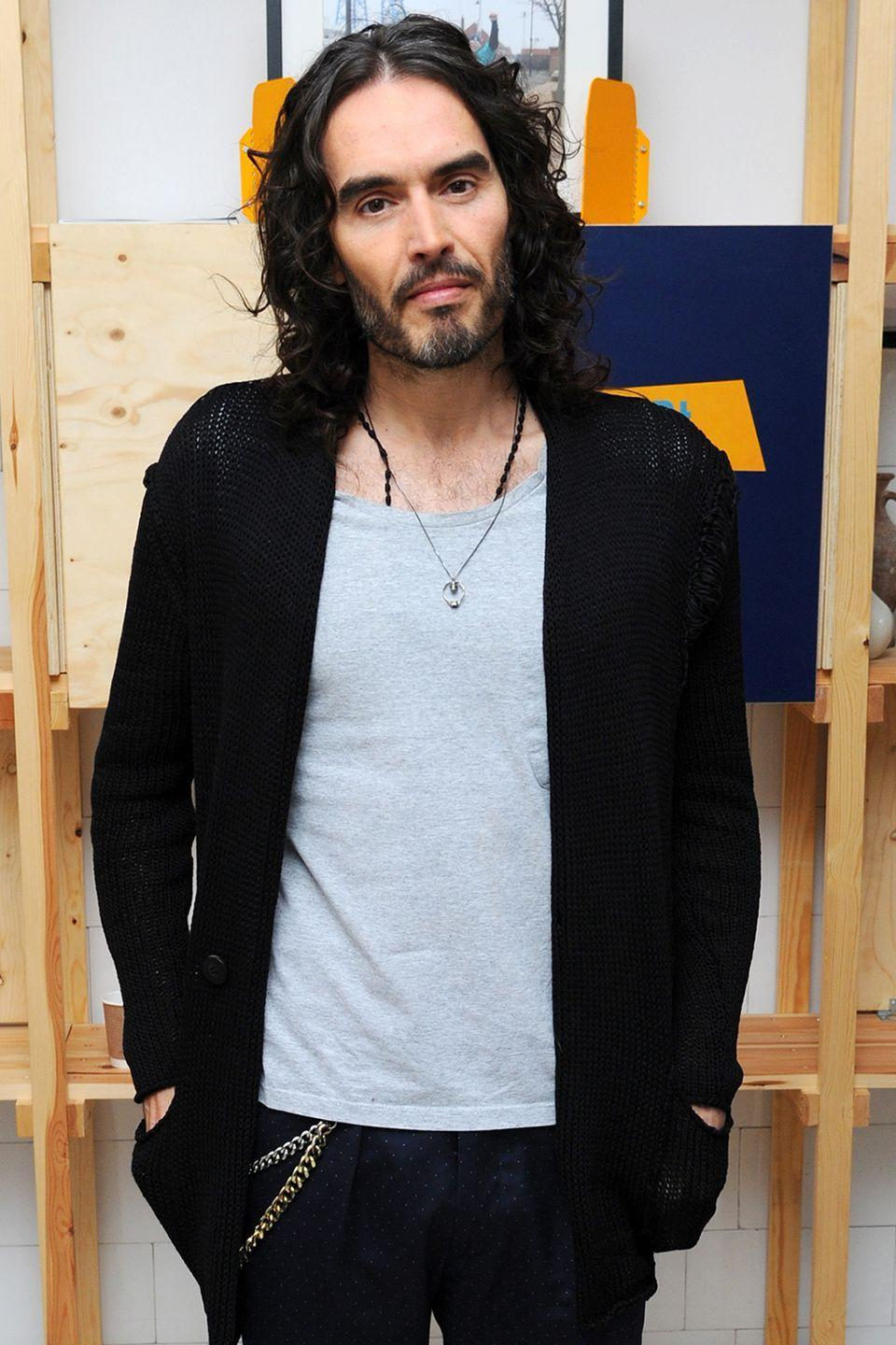 """<p>The English comedian and actor has been <a href=""""https://www.facebook.com/RussellBrand/posts/10151208588138177"""" rel=""""nofollow noopener"""" target=""""_blank"""" data-ylk=""""slk:publicly open"""" class=""""link rapid-noclick-resp"""">publicly open</a> about his addictions for quite some time now, celebrating 14 years of sobriety at this point. Now he sets out to help others who have also faced the same struggles in his book <a href=""""http://read.macmillan.com/lp/recovery-russell-brand/"""" rel=""""nofollow noopener"""" target=""""_blank"""" data-ylk=""""slk:Recovery: Freedom from our Addictions"""" class=""""link rapid-noclick-resp"""">Recovery: Freedom from our Addictions</a>. </p>"""