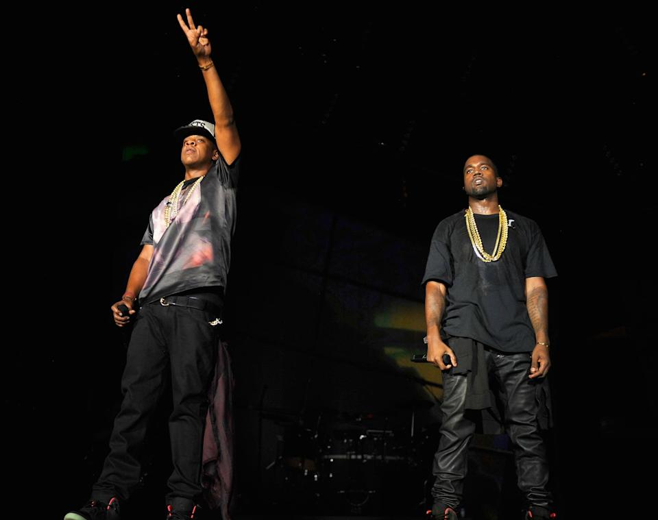 PHILADELPHIA, PA - SEPTEMBER 01:  Jay-Z and Kanye West perform during the Budweiser Made In America Festival Benefiting The United Way - Day 1 at Benjamin Franklin Parkway on September 1, 2012 in Philadelphia, Pennsylvania.  (Photo by Kevin Mazur/WireImage)
