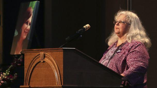 PHOTO: Susan Bro, mother to Heather Heyer, speaks during a memorial for her daughter, at the Paramount Theater, Aug. 16, 2017, in Charlottesville, Va.  (Andrew Shurtleff/Getty Images)