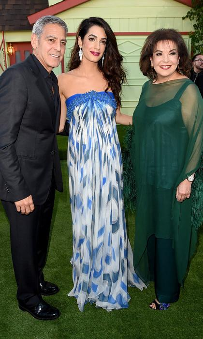 George Clooney with Amal Clooney and her mother, Baria