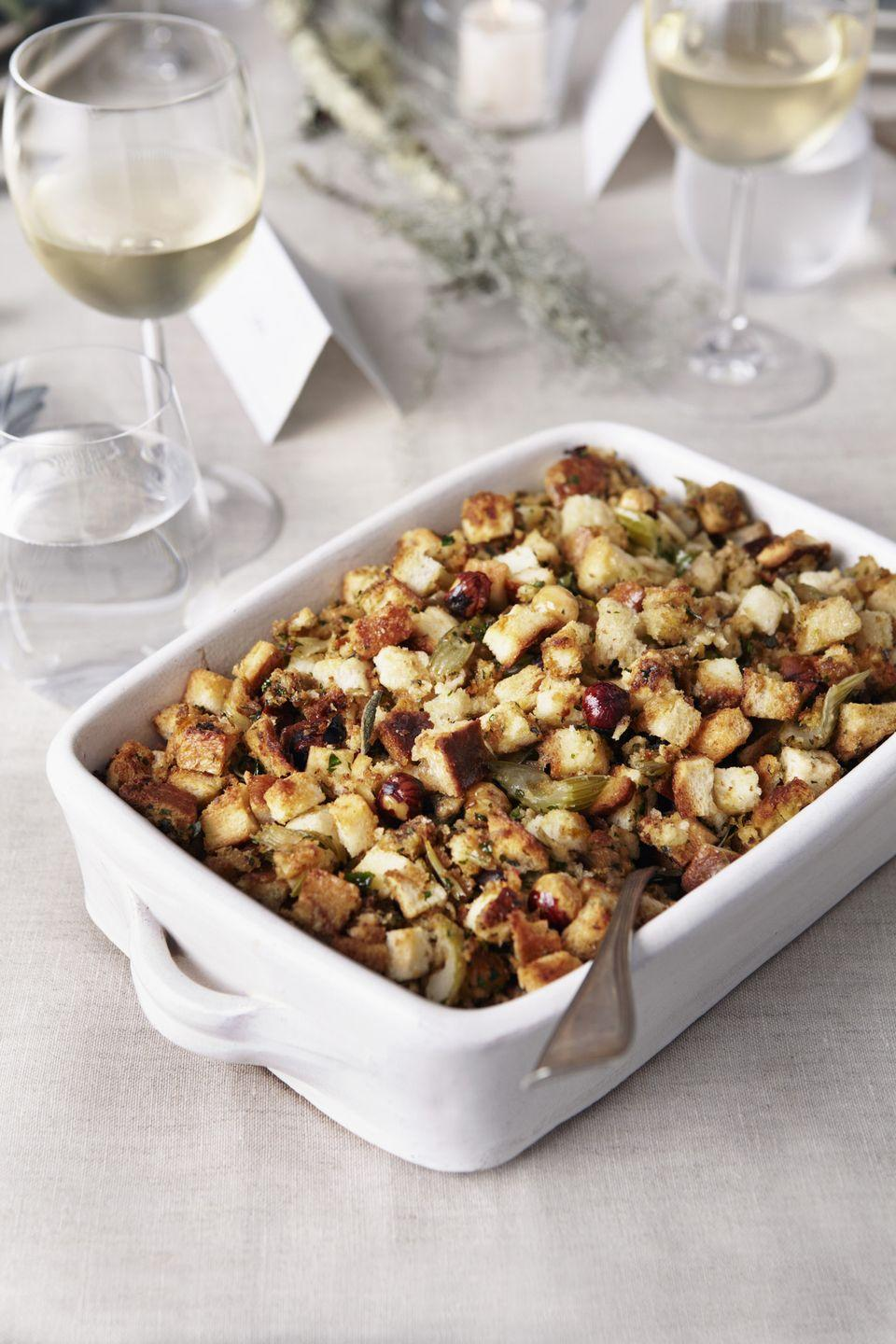 <p>Make stuffing with whole-grain bread, and choose a whole-grain option for dinner rolls, crostini, crackers, or pita chips. Whole grains take longer to digest than white flour, which helps prevent blood sugar spikes that can lead to type 2 diabetes, a heart disease risk.</p>