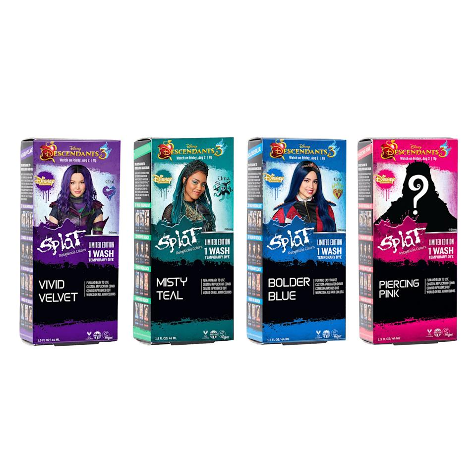 """<p>To coincide with the release of the Disney Channel original, <em>Descendants 3</em>, Splat is releasing four limited-edition hair colors inspired by three of the characters (Mal, Evie, and Uma), and one bold-pink hue inspired by a mystery character. Take your pick between the bright-rosy shade, or the purple, blue, and teal options. Take note, though: The collection is available online only.</p> <p>$9 (<a href=""""https://shop-links.co/1680044231881407218"""" rel=""""nofollow"""">Shop Now</a>)</p>"""