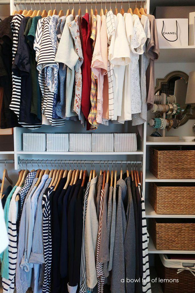 "<p>Need more hanging space? Raise your top clothing rod and install a second level in the open space. If you don't want to deal with installing a new organizational system, you can maximize your closet capacity by adding an adjustable expander that hangs from an existing closet rod. </p><p>See more at <a href=""https://www.abowlfulloflemons.net/2018/02/2018-home-organization-challenge-week-7-master-closet.html"" rel=""nofollow noopener"" target=""_blank"" data-ylk=""slk:A Bowl of Lemons"" class=""link rapid-noclick-resp"">A Bowl of Lemons</a>. </p><p><a class=""link rapid-noclick-resp"" href=""https://www.amazon.com/SimpleHouseware-Adjustable-Closet-Hanging-Chrome/dp/B01K07MY1K/ref=sr_1_6?tag=syn-yahoo-20&ascsubtag=%5Bartid%7C10072.g.29994972%5Bsrc%7Cyahoo-us"" rel=""nofollow noopener"" target=""_blank"" data-ylk=""slk:SHOP HANGING RODS"">SHOP HANGING RODS</a></p>"