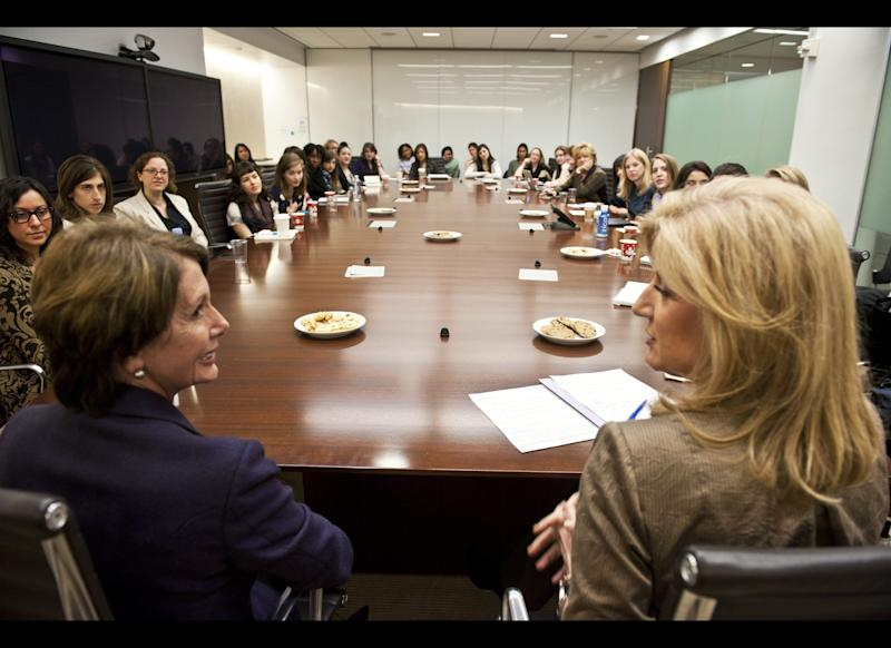 Nancy Pelosi meets with the AOL Huffington Post Media Group and it's editor-in-chief Arianna Huffington at the AOL Headquarters in New York Thursday Nov. 10, 2011. (Damon Dahlen, AOL)