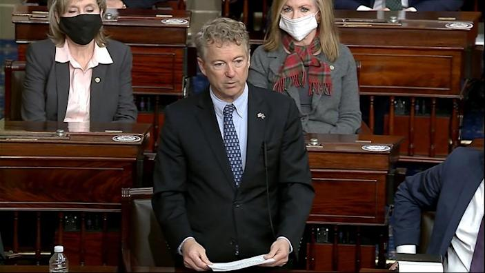 In this image from video, Sen. Rand Paul, R-Ky., makes a motion that the impeachment trial against former President Donald Trump is unconstitutional in the Senate at the U.S. Capitol in Washington, Tuesday, Jan. 26, 2021. (Senate Television via AP)