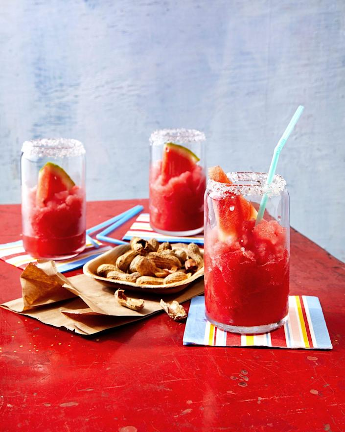 """<p><strong>Recipe: <a href=""""https://www.southernliving.com/recipes/watermelon-slushie"""" rel=""""nofollow noopener"""" target=""""_blank"""" data-ylk=""""slk:Watermelon Slushies with Key Lime-Mint Sugar"""" class=""""link rapid-noclick-resp"""">Watermelon Slushies with Key Lime-Mint Sugar</a></strong></p> <p>The Key lime and mint sugar can be stored for up to three months in an airtight container. </p>"""