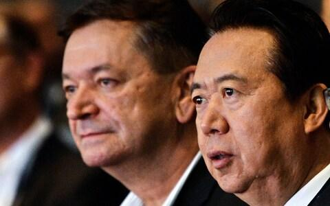 Interpol vice president Alexander Prokopchuk and and Meng Hongwei pictured in 2017 - Credit: ROSLAN RAHMAN/AFP/Getty Images