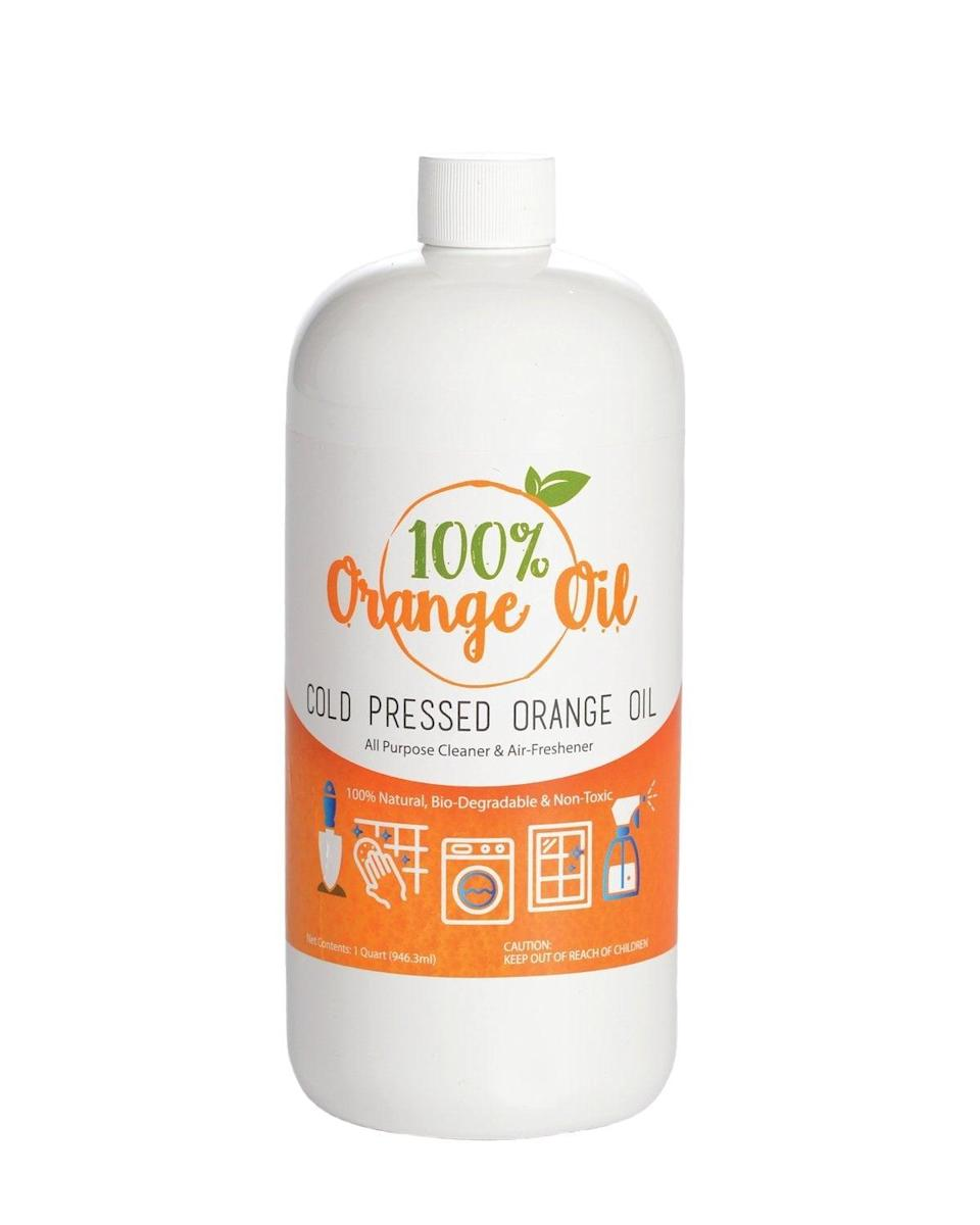 <p>The all-natural and biodegradable formula in the <span>Premium Cold Pressed Orange Oil</span> ($27) can clean any floor, countertop, or mirror.</p>