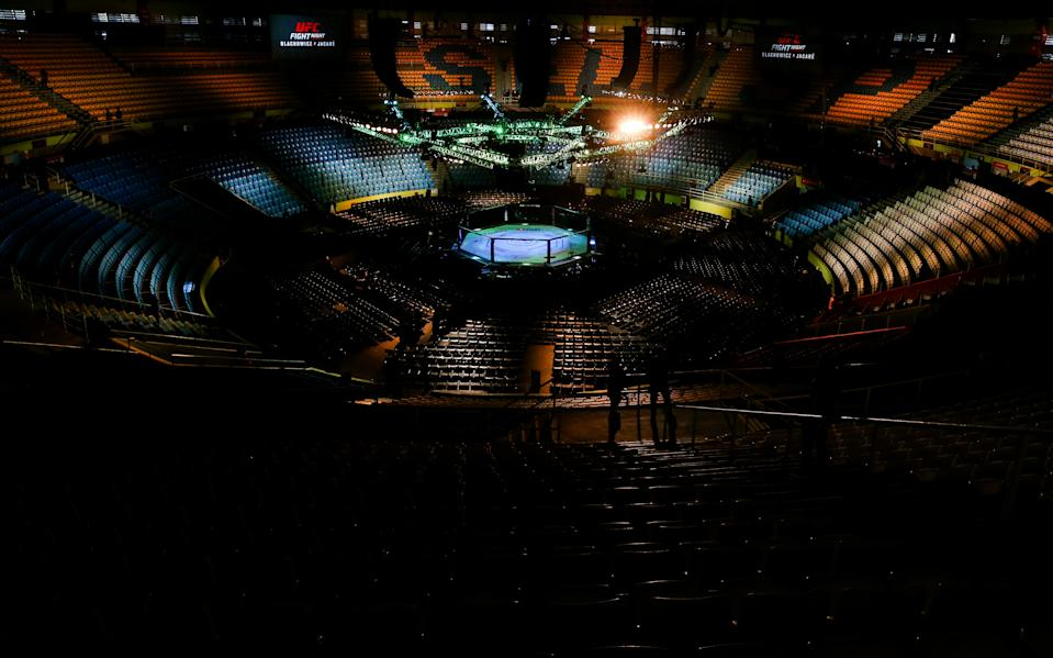 SAO PAULO, BRAZIL - NOVEMBER 16:  A general view of the Octagon prior to the UFC Fight Night event at Ibirapuera Gymnasium on November 16, 2019 in Sao Paulo, Brazil. (Photo by Alexandre Schneider/Zuffa LLC via Getty Images)