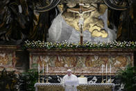 Pope Francis speaks prior to delivering his Urbi et Orbi blessing after celebrating Easter Mass at St. Peter's Basilica at The Vatican Sunday, April 4, 2021, during the Covid-19 coronavirus pandemic. (Filippo Monteforte/Pool photo via AP)