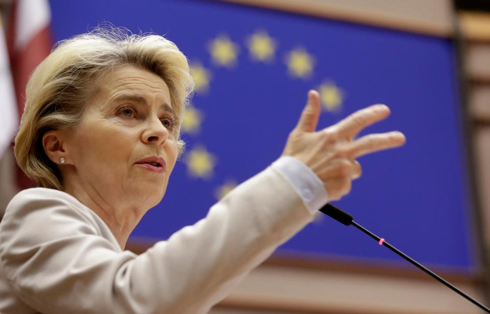 European Commission President Ursula Von Der Leyen speaks during a debate on the next EU council and last Brexit devlopement during a plenary session at the European Parliament in Brussels on November 25, 2020. (Photo by Olivier HOSLET / POOL / AFP) (Photo by OLIVIER HOSLET/POOL/AFP via Getty Images)